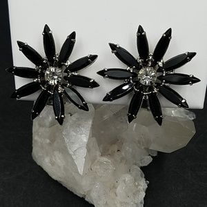 Vintage Black Navette Rhinestone Flower Earrings